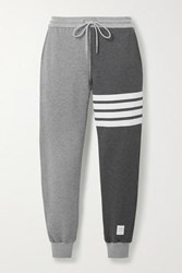 Thom Browne Color Block Cotton Jersey Track Pants Gray