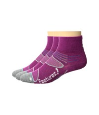Feetures Elite Merino Ultra Light Quarter 3 Pair Pack Berry White Quarter Length Socks Shoes Pink