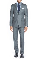 Men's Big And Tall Strong Suit 'Cutlass' Trim Fit Solid Wool Suit Medium Grey