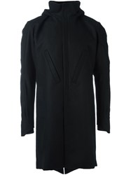 Devoa Flannel Hooded Coat Black