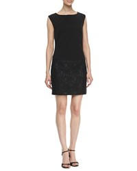 Laundry By Shelli Segal Boat Neck Wedge Lace Dress Black