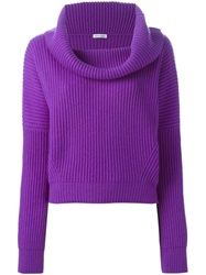 Tomas Maier Cowl Neck Ribbed Sweater Pink And Purple