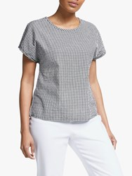 John Lewis Collection Weekend By Button Back Gingham Check Top Black White
