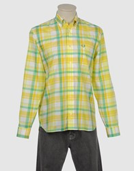 Fred Perry Shirts Long Sleeve Shirts Men Yellow