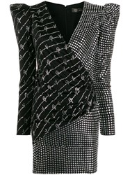 Versace Crystal Studded Fitted Dress Black