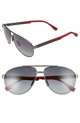 Men's Boss 63Mm Aviator Sunglasses Red Carbon Gray Gradient