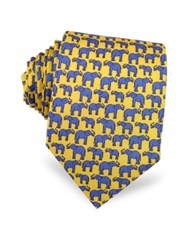 Laura Biagiotti Elephants Print Silk Narrow Tie Yellow
