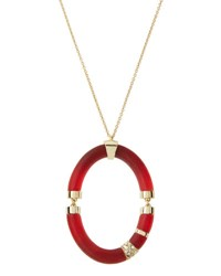 Alexis Bittar Long Ombre Frosted Oval Pendant Necklace Red