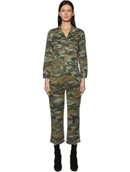 Mother The Fixer Camo Cotton And Linen Jumpsuit Army Green