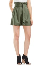 Vince Camuto Belted High Waist Shorts Camo Green