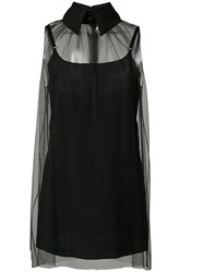 Vera Wang Sheer Sleeveless Top Black