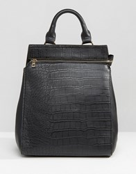 Liquorish Crocodile Textured Backpack Black