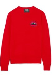 Markus Lupfer Tracy Sequin Embellished Merino Wool Sweater Red