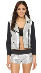 Rebecca Minkoff Rm Active Wes Moto Jacket Silver