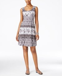 Styleandco. Style And Co. Petite Printed Fit And Flare Dress Only At Macy's Contrasting Day