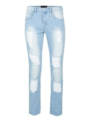 Hero's Heroine Blue Light Wash Ripped Skinny Jeans