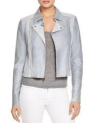 Paige Denim Silvie Leather And Suede Moto Jacket Blue Fog