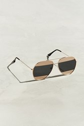 Urban Outfitters Uo Blocked Lens Aviator Sunglasses Gold