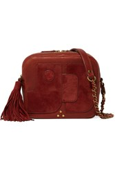 Jerome Dreyfuss Pascal Suede Paneled Textured Leather Shoulder Bag Brick