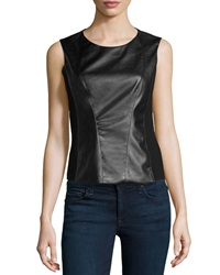 Vakko Sleeveless Ponte Faux Leather Top Black