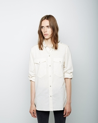 Isabel Marant Filipa Double Pocket Chambray Shirt White