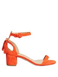 Aquazzura Pixie Tassel Back Suede Sandals Orange