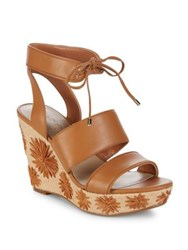 424 Fifth Sage Leather Platform Wedge Sandal Ginger