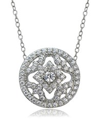 Lord And Taylor Cubic Zirconia Sterling Silver Medallion Pendant Necklace White Gold