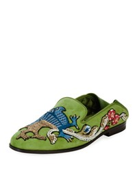 Alexander Mcqueen Embroidered Suede Fold Down Loafer Green