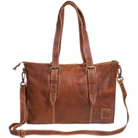 Mahi Leather Victoria Tote Handbag In Vintage Brown With Cream Stitching Detail