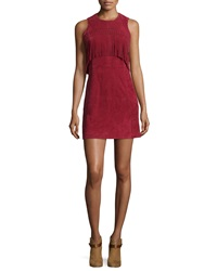 Rebecca Minkoff Sleeveless Suede Mini Dress W Fringe Wine