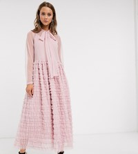 Sister Jane Oversized Maxi Smock Dress With Full Skirt In Tiered Tulle Pink
