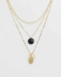 Asos Design Multirow Necklace With Stone Effect And Vintage Style Pendants In Gold