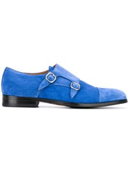 Doucal's Classic Monk Shoes Men Leather Suede Rubber 44.5 Blue