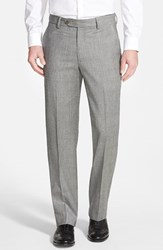 Berle Men's Flat Front Plaid Wool Trousers