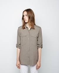 Isabel Marant Filipa Double Pocket Chambray Shirt Beige