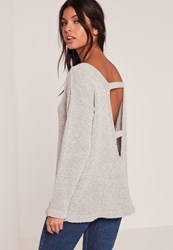 Missguided Grey Cosy Tab Back Jumper