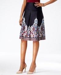Charter Club Pleated Border Skirt Only At Macy's Cardinal Red Combo