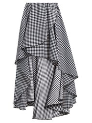 Caroline Constas Adelle Gathered Cotton Gingham Skirt Black White