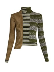 Maison Martin Margiela Patchwork Roll Neck Ribbed Knit Sweater Green Multi