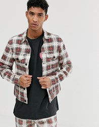 Cheap Monday Check Denim Jacket In Red