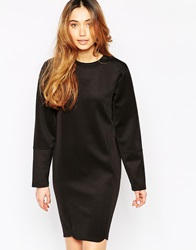 Minimum Long Sleeve Scuba Dress With High Neck 999Black