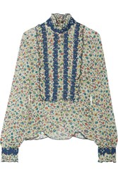 Anna Sui Ruffle Trimmed Embroidered Printed Silk Georgette Blouse Green
