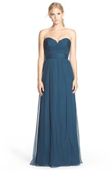 Amsale Strapless Silk Chiffon Gown French Blue