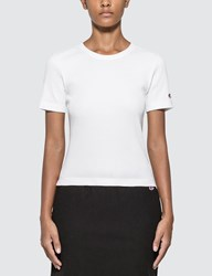 Champion Reverse Weave Ribbed Cropped T Shirt White