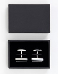 Boss Red Rectangle Logo Cufflinks In Black