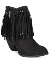 Naughty Monkey Not Rated Aadila Block Heel Fringe Ankle Booties Women's Shoes Black