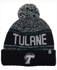 Top Of The World Tulane Green Wave Acid Rain Pom Knit Hat Heather Gray Black Green