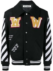 Off White Striped Sleeves Varsity Jacket Black