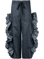 Roberts Wood Scallop Ruffle Cut Out Trousers Grey